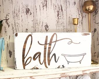 Bath Sign, Bathroom Sign, Bath Signs Wood, Bath Sign Farmhouse, Bath Sign  Vintage, Bathroom Wall Art, Bathroom Wall Decor, Wood Bath Sign