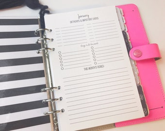 Printed Half Letter Size Month at a Glance Planning Inserts