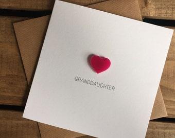 Granddaughter Card with Pink Heart detachable magnet keepsake