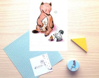 Bear, squirrel, friends, animals, cupcake, illustration, wish card, watercolor, print, wall decor, nursery room, baby shower gift, girl, boy