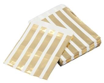 5 krafts - gift bag - striped paper bags-