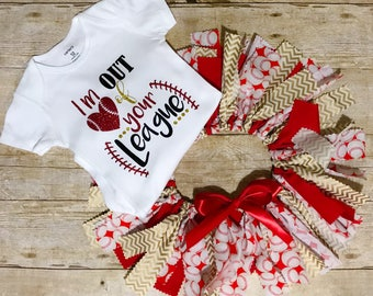 Baseball Outfit - Baby Girl Baseball Outfit - Fabric Tutu Outfit - Your Out Of My League