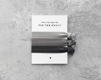Grey Trio – Bridesmaid Proposal Gift – Help Me Tie The Knot – Will You Be My Bridesmaid Gift –Hair Ties