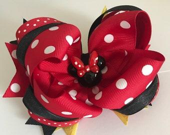 Minnie Mouse Polka Dot Boutique Hair Bow