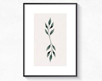 Botanical leaf poster • Botanical print Wall art print Scandinavian art Printable • • •