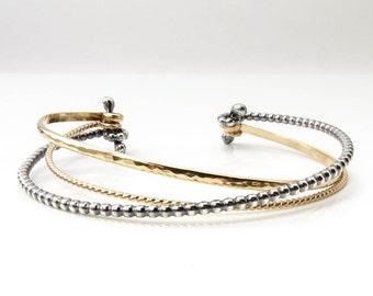 Cuff Bracelet, Wrap Bracelet, Silver and Gold Bracelet, Multi Strand Bracelet, Made to Order
