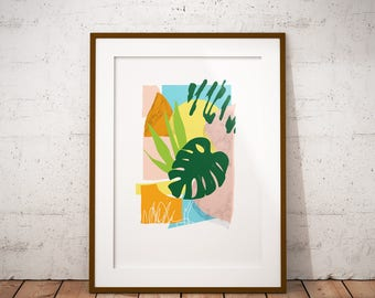 Monstera Leaf Collage Giclee Art Print, Cheese Plant Poster, Tropical Leaf Art, Mid Century Modern