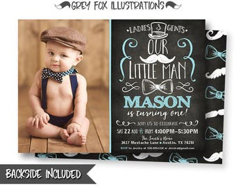 Little Man Invitation, Little Man Picture Invitation, Little Man Party, Mustache Invitation, Bow Tie Invitation, Personalized, Printable
