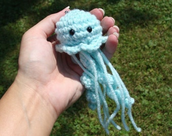 Amigurumi Baby Jellyfish Plush Keychain - Your choice of color