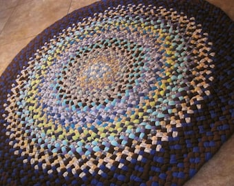 New Ready To Ship Handmade Hand braided Recycled Round Rug / Rag Rug / Carpet in shades of blue for the nursery / bathroom / kitchen / entry