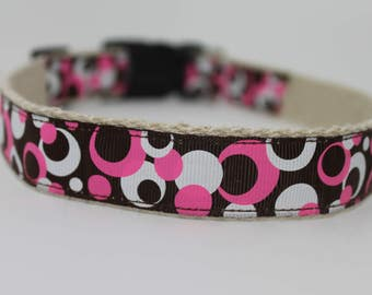 Pink and Brown Circles hemp dog collar or leash