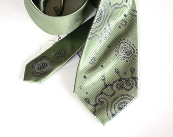 Necktie green, extravagant neck tie hand painted, wedding neckties, gift for man, gift for him - Hand painted accessories ooak made to order