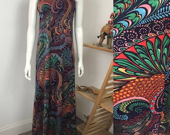 Vtg 70s Don Luis de España paisley rainbow maxi dress small medium