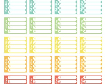 28 Priorities Checklist Pastel Planner Stickers! Perfect for your Erin Condren Life Planner!