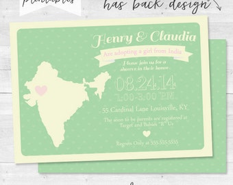 International Adoption Shower Invitation - Baby Shower - Customizable and Color Option
