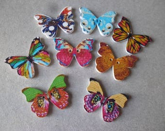 x 5 mixed wooden buttons butterflies multicolor 2 holes 24 x 22 mm n ° 2