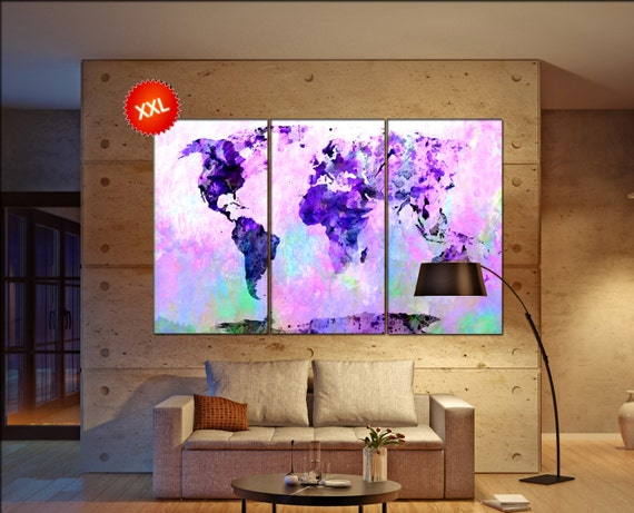 purple abstract world map  print purple abstract world map canvas wall art  Art Print artwork large world map Print home office decoration