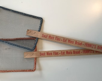 Two 1950s Vintage Fly Swatters - Frantz Bakery - Advertising
