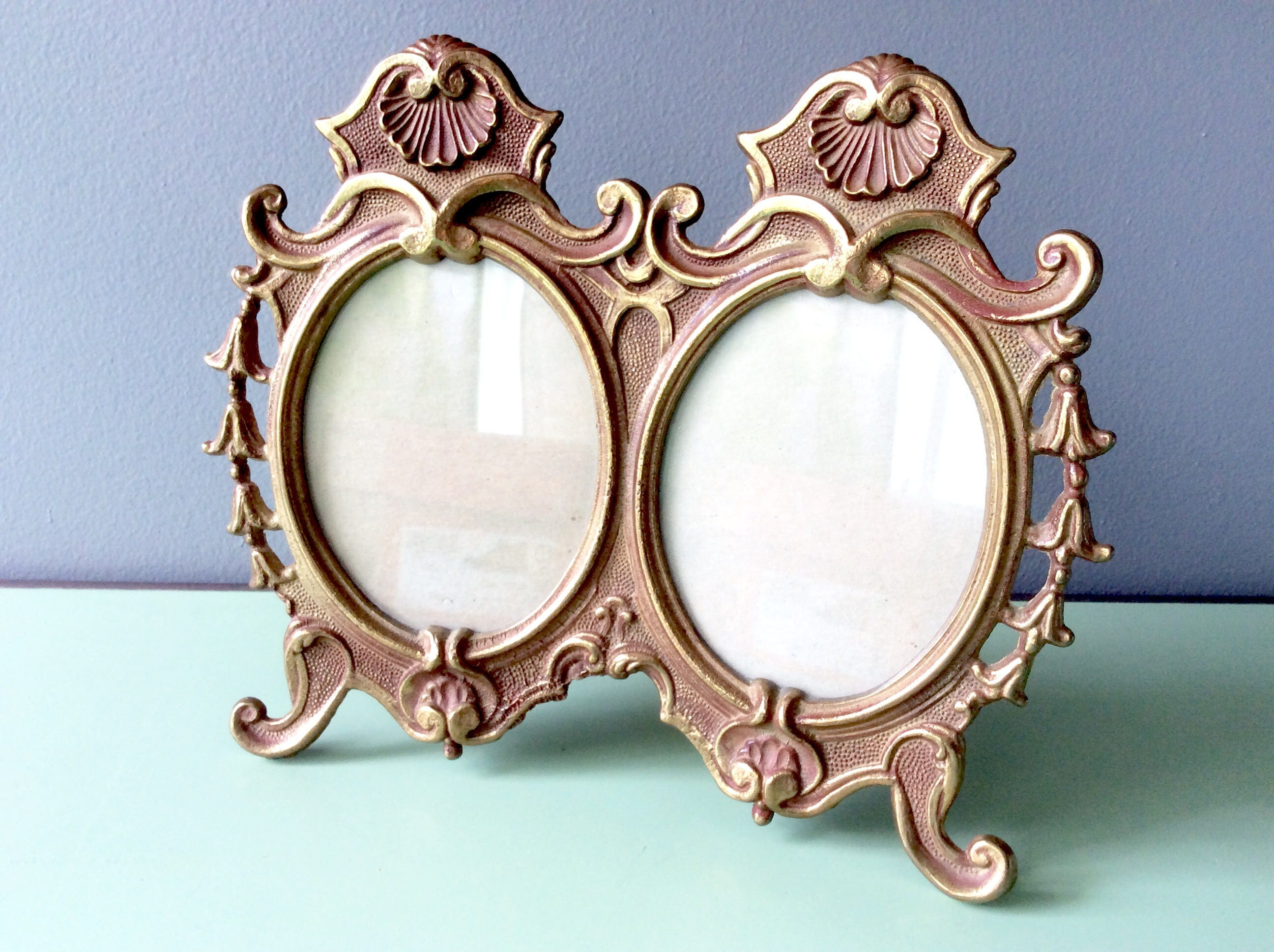 Vintage art deco brass frame double standing frame gold rococo sold by northernscoutvintage jeuxipadfo Images