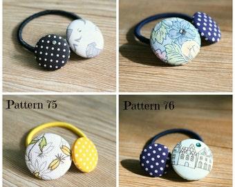 Handmade fabric covered button ponytail holder, movabale button ponytail holder, handmade ponytail holder, hairband