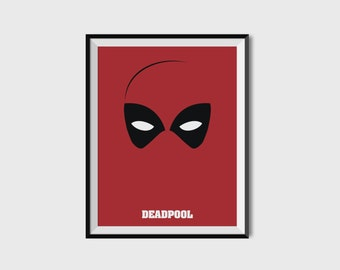 Deadpool Print - Minimalist, Marvel Comics, Comic Print, Avengers, Superhero Wall Art, X-Men
