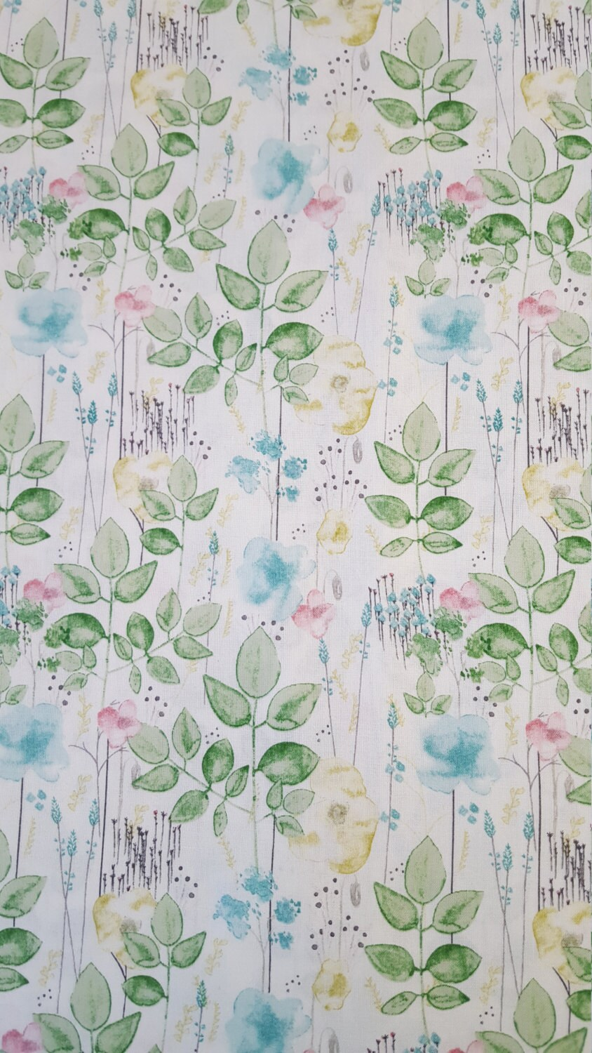 Cotton Fabric In The Garden Watercolor Floral On White 1