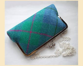 Harris Tweed shoulder bag, tartan clutch bag, blue, green, pink, Harris Tweed bag, tweed purse, tartan handbag