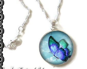 925 Sterling Silver Chain: 25 mm cabochon necklace * Butterfly * (070218)