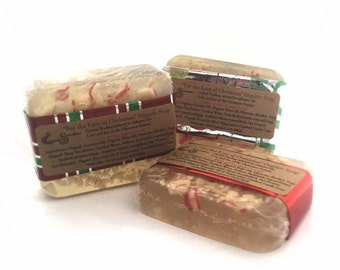 Christmas Soap, Stocking Stuffer, Soap Set, Peppermint Soap, Candy Cane Soap, VEGAN Soap, Organic Soap Vegan Gift Set Holiday Soap Gift Soap