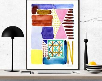 Abstrakte Wandkunst. Abstrakte Malerei. Aquarell. Aquarell-Kunstwerk. Moderne Kunst. Farbenfrohe Kunstdruck. Minimalistische Kunstdruck.