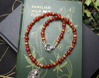 Ganesha, Carnelian & Sandalwood Necklace Devotional Necklace - Hindu Deity, Pagan, Indian