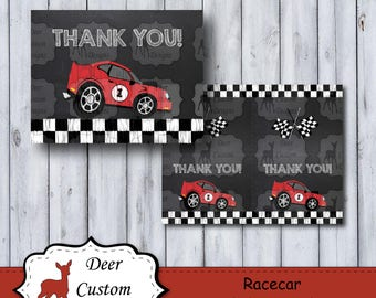 Racecar Thank You Notes | Race Car Note Cards | Nascar Birthday Party | Boy's Thank You Notes | Instant Download | Printable | Speedster