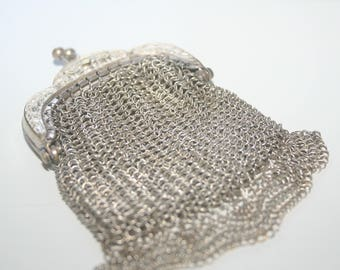 Antique French Chain Maille Silver purse - very good condition.