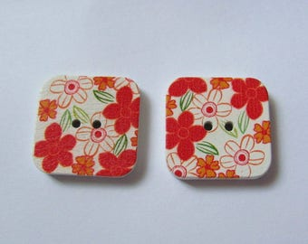 2 square wooden buttons 25mm Vintage style floral