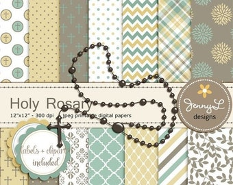 50% OFF Rosary Digital Papers and Clipart, Baptism, First Communion, Confirmation, Christening, Dedication, Cross Holy Week Scrapbooking Pap