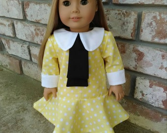 """18"""" Vintage Style Doll Dress w/ Beret-Fits American Girl-Isabelle, Maryellen+"""