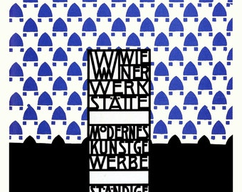 Wiener Werkstätte Exhibition Poster by Josef Hoffmann Home Decor Wall Decor Giclee Art Print Poster A4 A3 A2 Large Print FLAT RATE SHIPPING