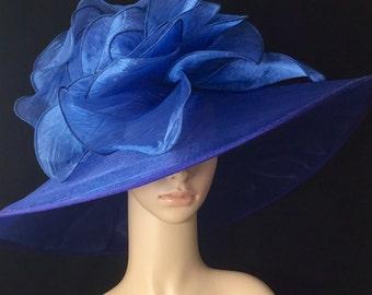 Wide Brim Kentucky Derby Hat,Women's Navy Blue Derby Hat ,Wide Brim Hat , Tea Party ,Ascot Horse