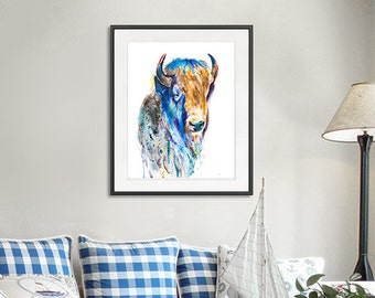 Watercolor american buffalo print, bison print, bison wall art, watercolor buffalo, animal painting, watercolor print, wild animal art - R20