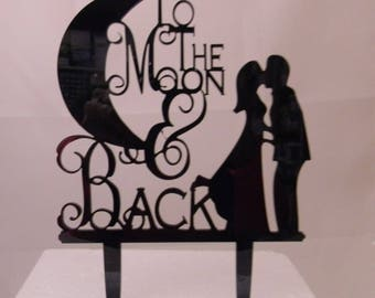 Wedding Party Reception Moon and Back Kissing Couple Acrylic Cake Topper