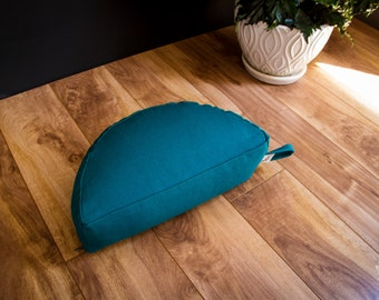 Crescent Travel meditation cushion half moon zafu Teal buckwheat pillow handmade by Creations Mariposa