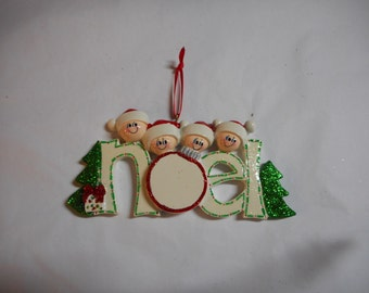 Noel family of 4 Personalized Ornament