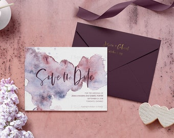 Watercolor Serenity Save the Date card, Printable Wedding Announcement, Burgundy Save the Date, Nautical Wedding, Wedding Stationery, J2PWWS