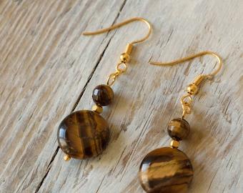Tigers Eye Earrings, Tiger Eye jewelry,Boho Earrings, Healing earrings,Gold plated earrings, Gem Stone Earrings, Tiger Eye Stone Earrings