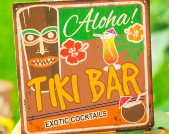 Made to Order Miniature Aloha Tiki Bar Sign - Retro Style Print - 1:12 Dollhouse Miniature