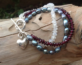 Garnet, Moonstone, Pearl, Semi Precious Gemstone, Multi Strand, Karen Hill Tribe Silver, Sterling Silver, Women, Teens, Gift for Her