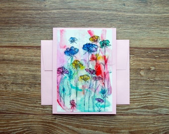 Harper's Garden A6 Blank Greeting Card with Envelope / Art Print / Blank Greeting Card / All Occasion / Thank You Card / Mixed Media Print