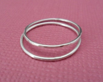 TWO Stackable Ring - Barely there Ring, Thin band Ring, Sterling Silver Ring