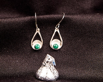 sterling silver & malachite teardrop earrings