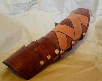 Steampunk Tooled Leather Bracer with removable hand guard